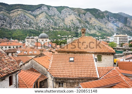 roofs of the old town Kotor, Montenegro - stock photo