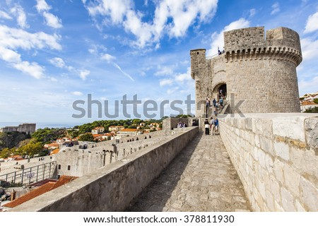 Roofs View on Dubrovnik Old Town wall, Croatia. - stock photo