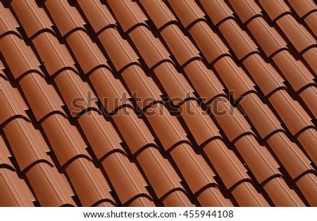 Rooftop of red clay tiles - suitable for background pattern. Photographed in old town of Dubrovnik, Croatia. - stock photo