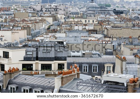 Rooftop of traditional buildings in Paris, France - stock photo