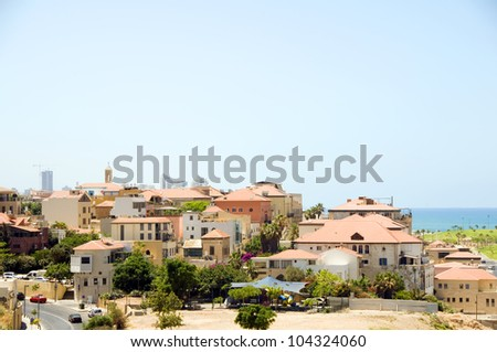 rooftop view historic Old City Jaffa Tel-aviv Israel Mediterranean Sea - stock photo