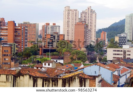 rooftop view La Candelaria Bogota Colombia colorful architecture historic and central business district South America - stock photo