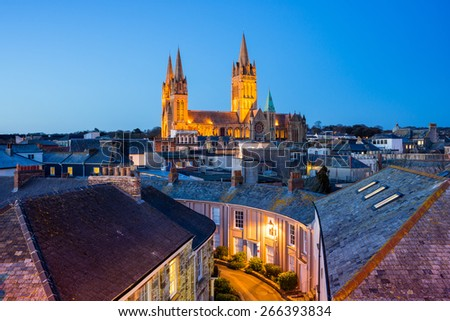 Rooftop view of Truro Cornwall England with the Cathedral illuminated at dusk - stock photo