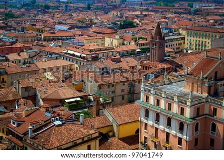 Rooftop view of Verona, Italy - stock photo