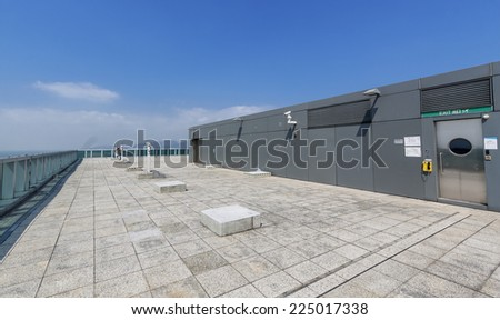 rooftop wide view under sky - stock photo