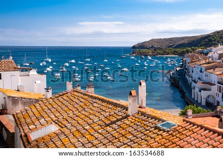 Rooftops and bay at Cadaques - Spain - stock photo