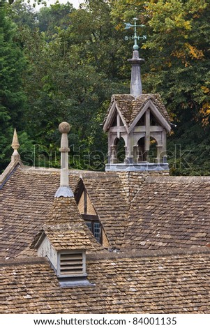 Rooftops of a nineteenth century stable block in Wiltshire UK - stock photo