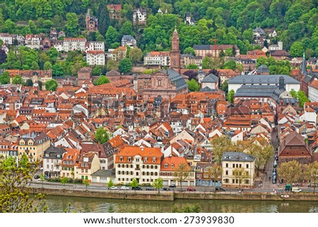 Rooftops of Heidelberg old town, Baden-Wurttemberg state, Germany - stock photo