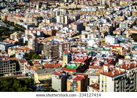Rooftops of Malaga neighborhood. Andalusia, Spain - stock photo