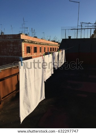 Rooftops of Rome. Linen hanged for drying.