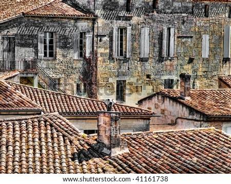 Rooftops of Saint Emilion village UNESCO world heritage centre - stock photo