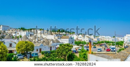 Rooftops of traditional Trulli houses in Alberobello, Italy.