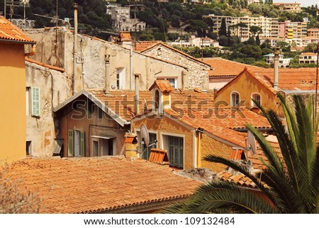 Rooftops view, old town Cannes, Cote d'Azur, France - stock photo