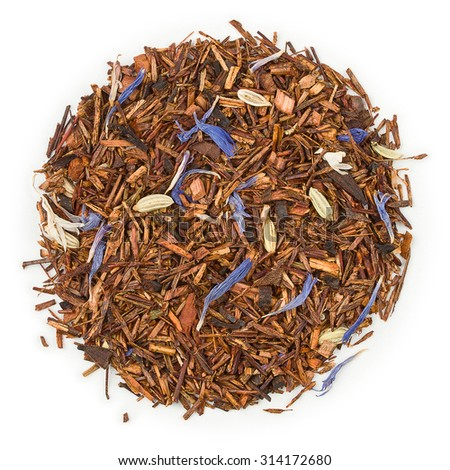 Rooibos Bluberry Organic raw tea blend isolated on pure white