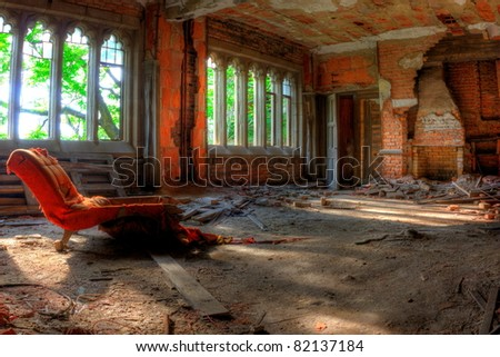 Room and chair. Abandoned City Methodist Church in Gary, Indiana.
