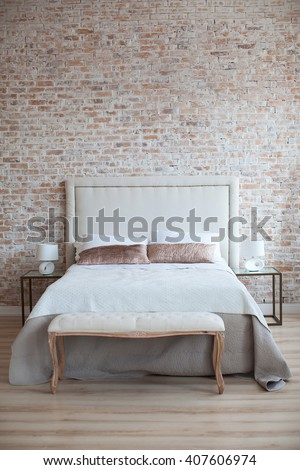 room bedroom design with white bed and night tables - stock photo
