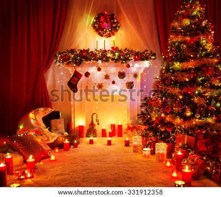 Room Christmas Tree Fireplace Lights, Xmas Home Interior Decoration, Hanging Sock and Present Toys - stock photo