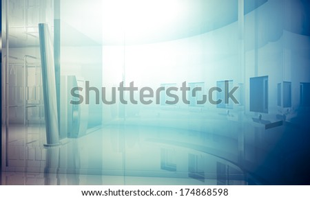 Room.Empty office with columns and large windows, Indoor building. business space with blue light effects - stock photo