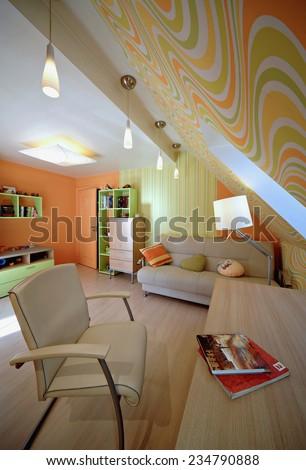Room for schooler. Interior in the modern house. Desk, book.  - stock photo