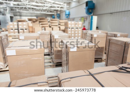 room full of packed boxes - stock photo