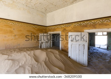 Room full of sand at Kolmanskop