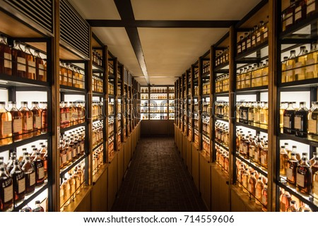 Charming Room Full Of Whisky Cabinets Storing Different Types Of Whiskey