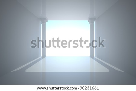 room in a minimalist style with classical columns - stock photo
