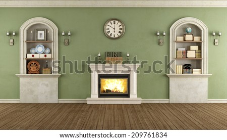 Room In Classic Style With Arched Niches And Fireplace