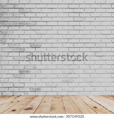 room interior and white brick wall with wood floor