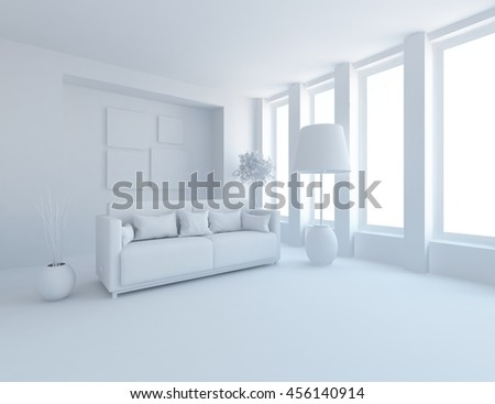 room interior in a white. Living room interior. Scandinavian interior. 3d illustration - stock photo