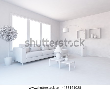room interior in a white. Living room interior. Scandinavian interior. 3d illustration