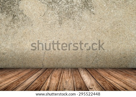room interior vintage wall and wood floor background - stock photo