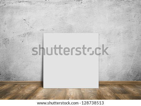 room interior vintage wall, wood floor and white blank placard background