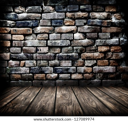 room interior vintage with  brick wall and wood floor background - stock photo