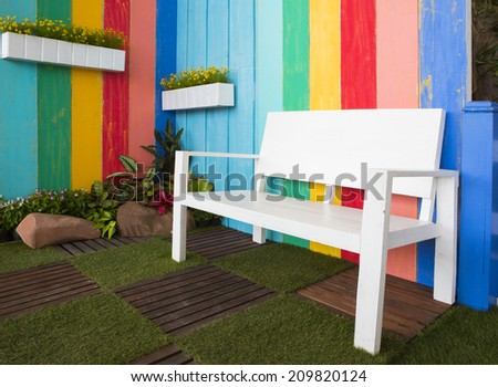 room interior vintage with colorful wooden  - stock photo