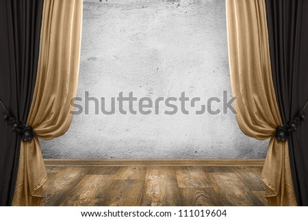 room interior vintage with curtains and white wall background - stock photo
