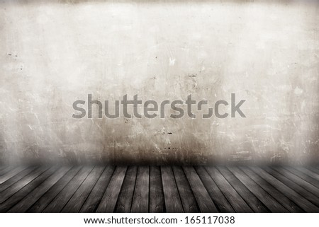 room interior vintage with dirty wall and wood floor background