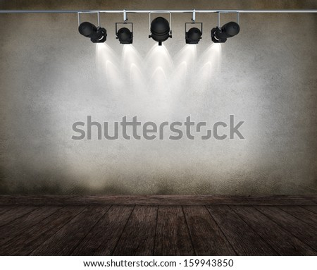 room interior vintage with spotlight. may use as grunge halloween background  - stock photo