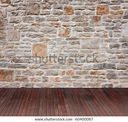 room interior vintage with stone wall - stock photo