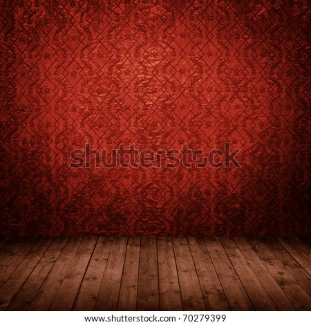 room interior vintage with wallpaper - stock photo