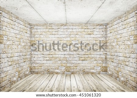 room interior vintage with white brick wall and wood floor background - stock photo