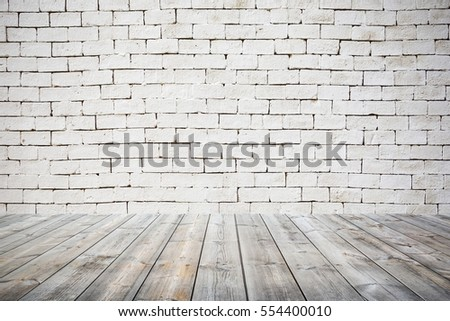 room interior vintage with white brick wall and wood floor background,with vintage toned style