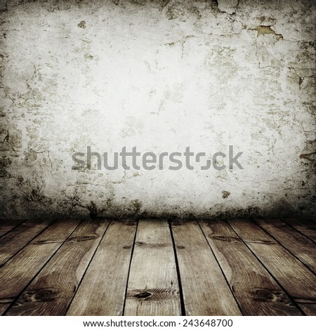 room interior vintage with white wall - stock photo