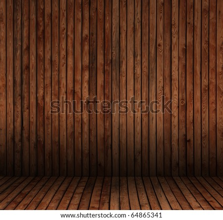 room interior vintage with wood tiles - stock photo