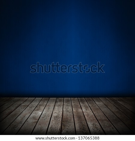 room interior with blue wallpaper background - stock photo