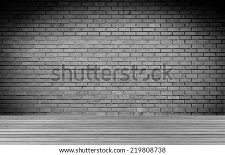 room interior  with brick wall and wood floor background