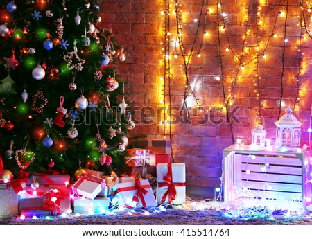 Room interior with Christmas tree and gifts - stock photo