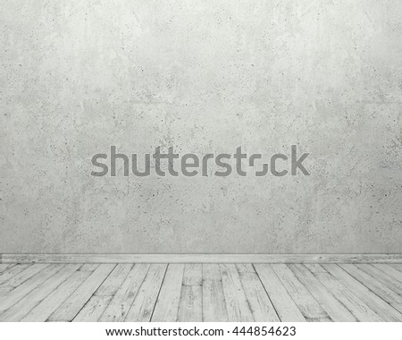 Room interior with empty concrete wall and wooden floor. 3D rendering