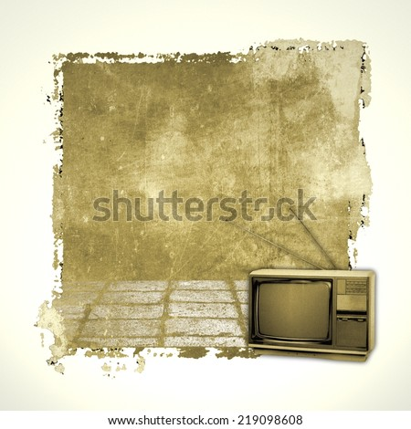 Room interior with old vintage television. Sepia tones. - stock photo