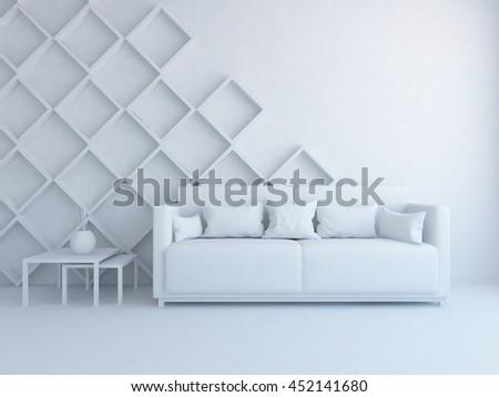 room interior with sofa in a white. Living room interior. Scandinavian interior. 3d illustration - stock photo